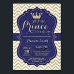 """Prince Baby Shower Invitation Navy and Gold<br><div class=""""desc"""">Prince Baby Shower Invitation with Navy and Gold Glitter Chevron background. For further customization,  please click the &quot;Customize it&quot; button and use our design tool to modify this template.</div>"""