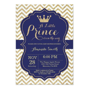 Toddler & Baby themed Prince Baby Shower Invitation Navy and Gold