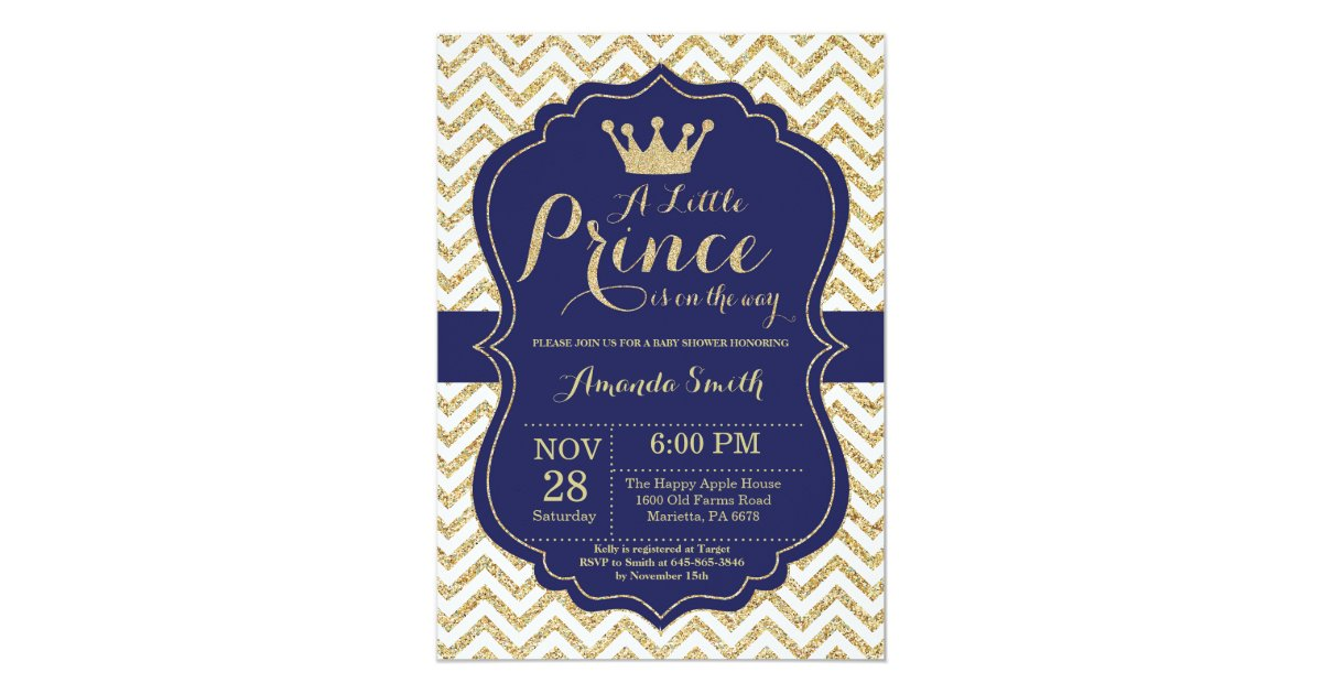 Prince Baby Shower Invitation Navy and Gold | Zazzle.com
