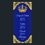 """Prince Baby Shower Menu<br><div class=""""desc"""">Prince baby shower menu with beautiful royal blue and gold crown on an elegant royal blue and gold swirl background. These royal blue and gold prince baby shower menus are easily customized for your event by simply adding your details in the font style any layout you prefer.</div>"""