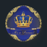 "Prince Baby Shower Paper Plates<br><div class=""desc"">Prince baby shower paper plates with beautiful royal blue and gold crown and blue it&#39;s a prince banner on a rich blue and gold swirl background. You can move the crown and you can delete the banner.</div>"