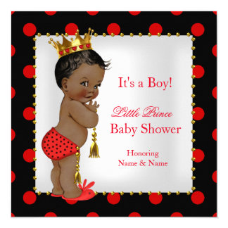 Prince Baby Shower Red Black Boy Ethnic 5.25x5.25 Square Paper Invitation Card