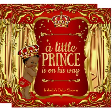 Toddler & Baby themed Prince Baby Shower Red Gold African American Card