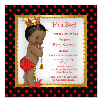Prince Baby Shower Red Gold Black Boy Ethnic Card
