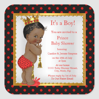 Prince Baby Shower Red Gold Black Boy Ethnic Square Sticker