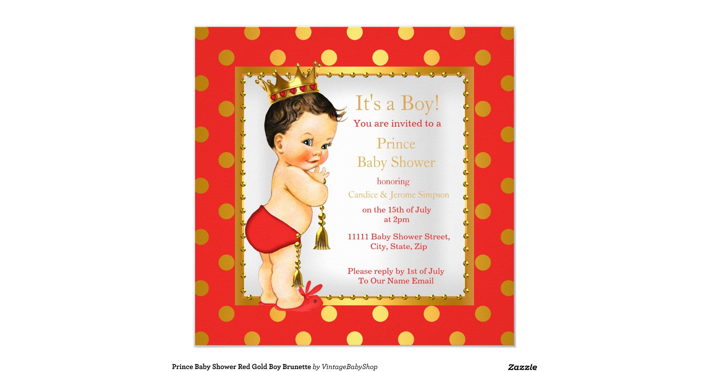prince baby shower red gold boy brunette invitation