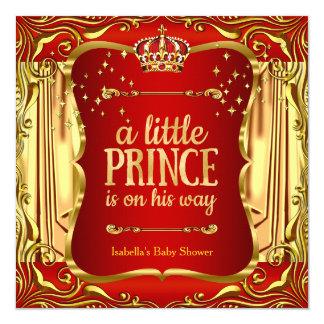 Prince Baby Shower Red Gold Boy Invitation