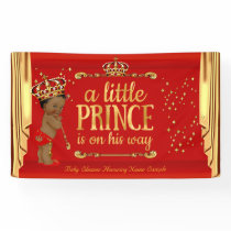 Prince Baby Shower Red Gold Drapes Ethnic Banner