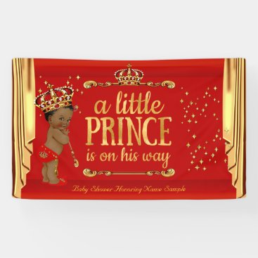 Toddler & Baby themed Prince Baby Shower Red Gold Drapes Ethnic Banner