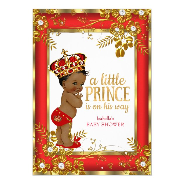 prince baby shower red gold white ethnic card | zazzle, Baby shower invitations