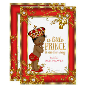 Captivating Prince Baby Shower Red Gold White Ethnic Invitation