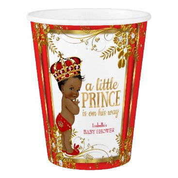 Toddler & Baby themed Prince Baby Shower Red Gold White Ethnic Paper Cup