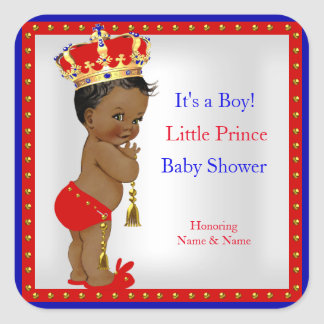 Prince Baby Shower Red White Blue Boy Ethnic Square Sticker