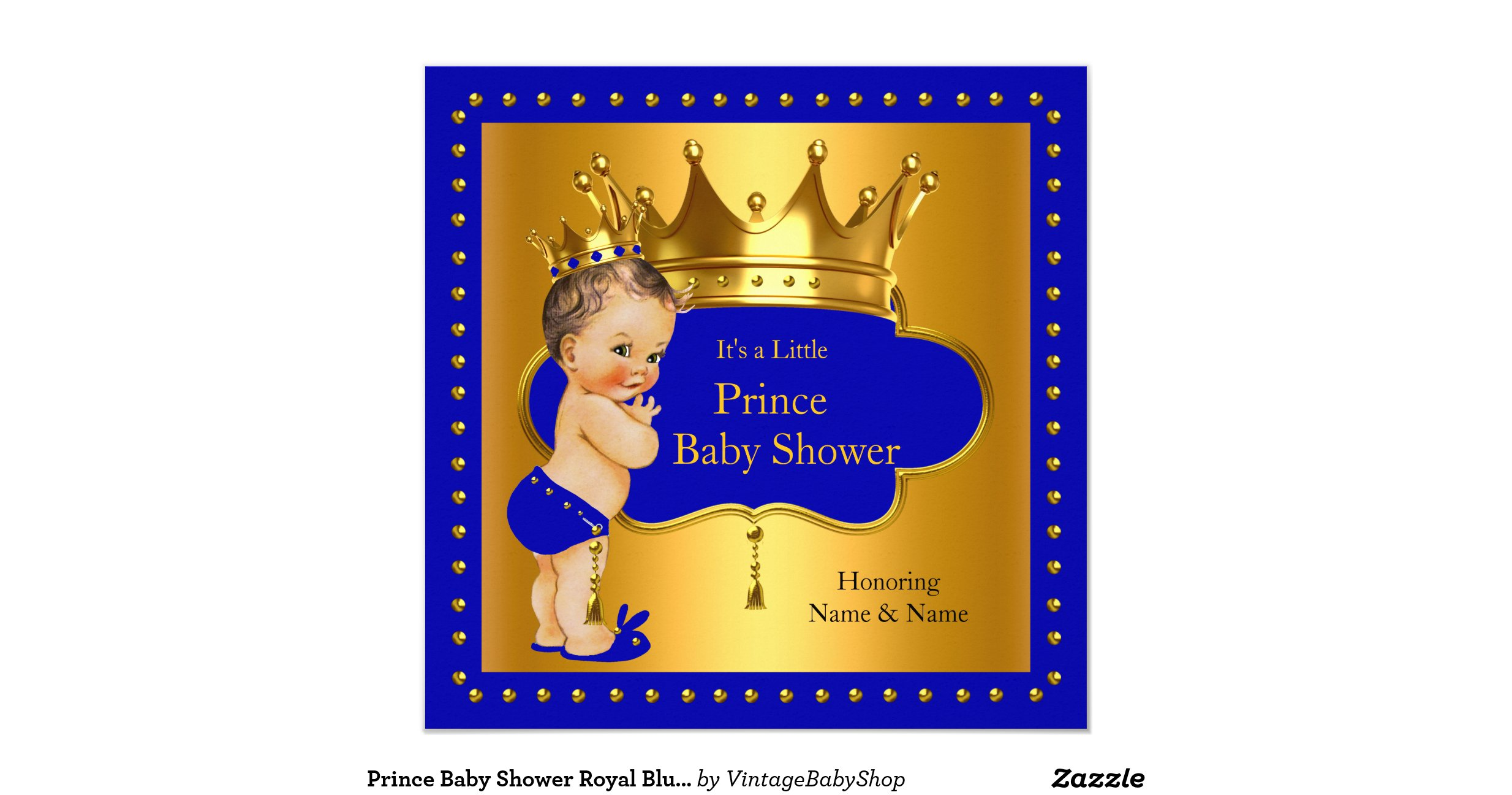 prince baby shower royal blue boy crown invitation