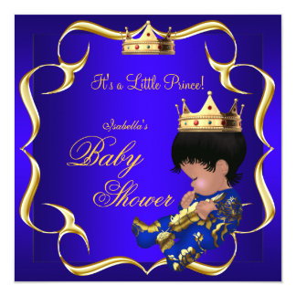 Prince Baby Shower Royal Blue Gold Boy Crown 3 5.25x5.25 Square Paper Invitation Card