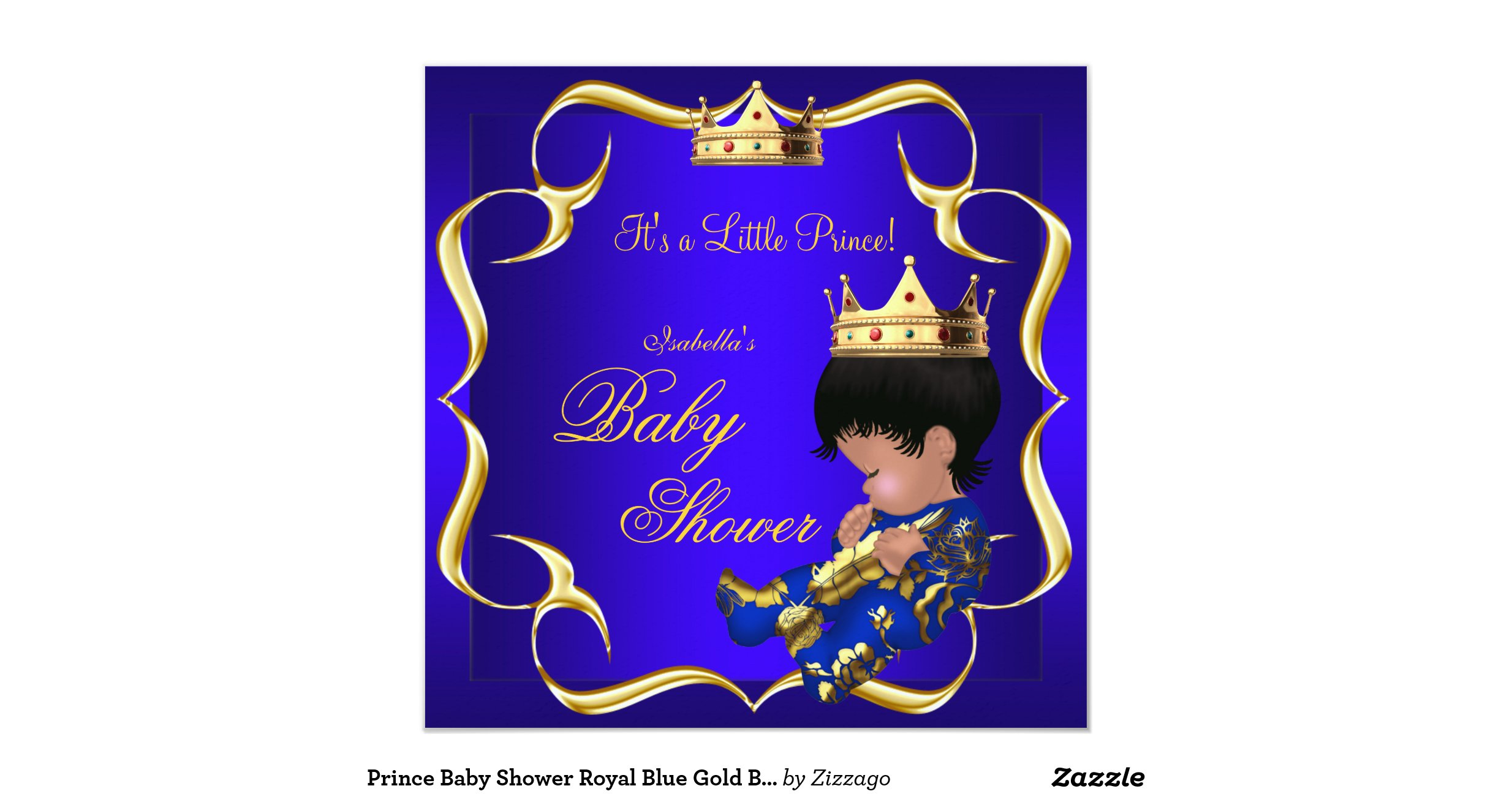 prince baby shower royal blue gold boy crown 3 invitation