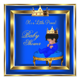 """Prince Baby Shower Royal Blue Gold Boy Crown AA 5.25"""" Square Invitation Card"""
