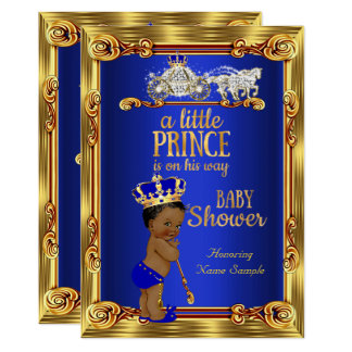 Prince Baby Shower Royal Blue Gold Carriage Ethnic Card