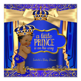 Prince Baby Shower Royal Blue Gold Drapes Ethnic Card