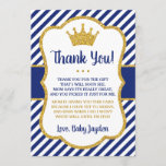 "Prince Baby Shower Thank You Card | Blue and Gold<br><div class=""desc"">Prince Baby Shower Thank You Card 