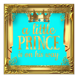 Prince Baby Shower Turquoise Teal Blue Card