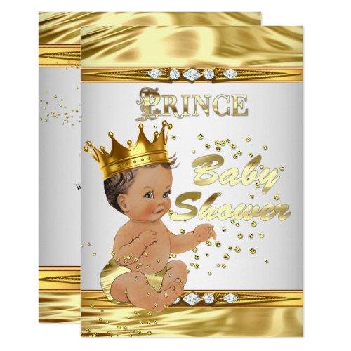 Prince Baby Shower White Gold Foil Brunette Invitation