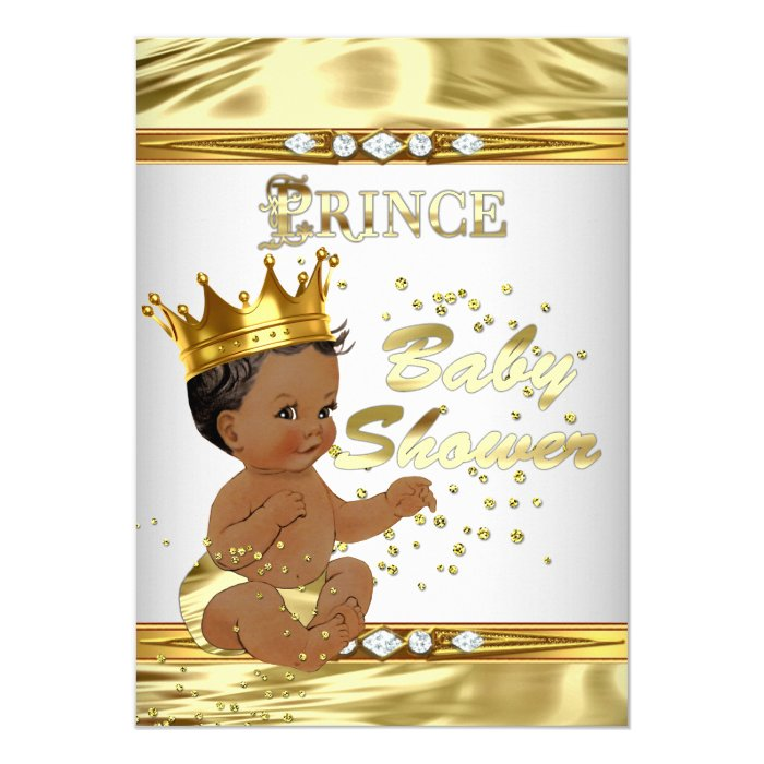 prince baby shower white gold foil ethnic card zazzle