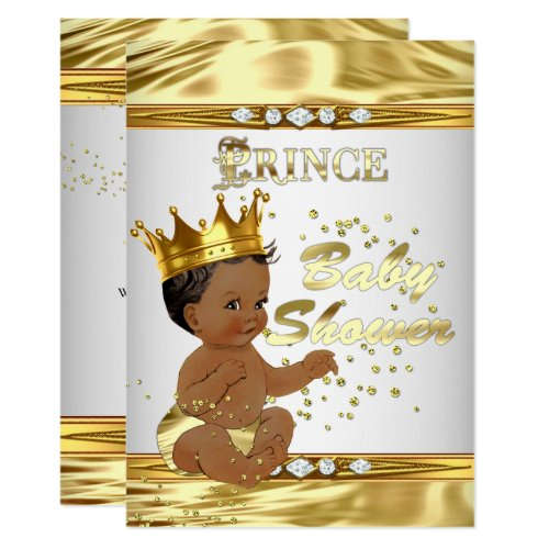 Prince Baby Shower White Gold Foil Ethnic Invitation