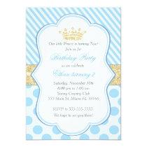 Prince Birthday Party Invitation Blue Gold Glitter