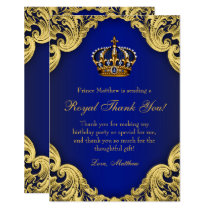 Prince Birthday Party Thank You Cards