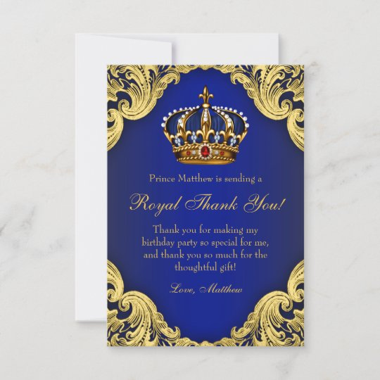 Prince Birthday Party Thank You Cards Royal Crown Zazzle Com