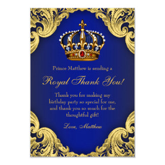 Prince birthday invitations announcements zazzle prince birthday party thank you cards royal crown stopboris Image collections