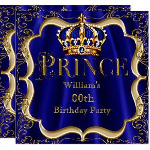 Prince birthday invitations zazzle prince birthday royal blue gold crown mens 2 invitation stopboris Gallery