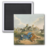 Prince Blucher under his Horse at the Battle of Wa 2 Inch Square Magnet