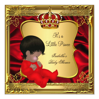 Prince Boy Baby Shower African American Red Gold 5.25x5.25 Square Paper Invitation Card