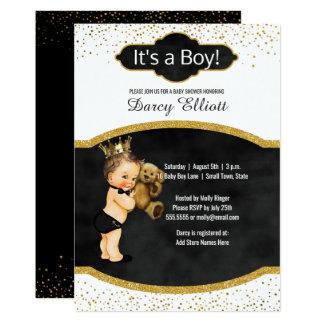 Prince Boy Baby Shower   Black Faux Gold Glitter Card