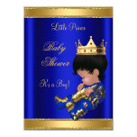 "Prince Boy Baby Shower Blue 2 African American 4.5"" X 6.25"" Invitation Card"