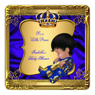 """Prince Boy Baby Shower Blue African American Gold 5.25"""" Square Invitation Card"""