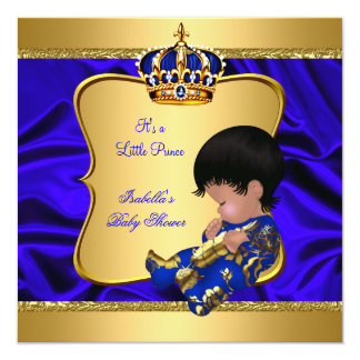 Prince Boy Baby Shower Blue African American Silk 5.25x5.25 Square Paper Invitation Card