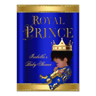 Prince Boy Baby Shower Blue Ethnic GOLD 4.5x6.25 Paper Invitation Card