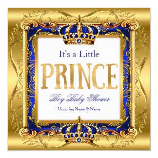 Prince Boy Baby Shower Blue Gold Foil Frame Card
