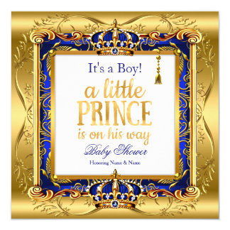 Prince Boy Baby Shower Blue Ornate Gold Card