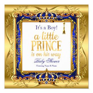 Prince Boy Baby Shower Blue Ornate Gold Card