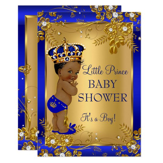 Baby boy shower invitations zazzle prince boy baby shower gold blue african american card negle Images