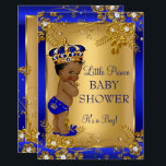 """Prince Boy Baby Shower Gold Blue African American Invitation<br><div class=""""desc"""">Gold and Royal Blue Boy Baby Shower it&#39;s a boy Party  Invitation. Elegant gold diamond floral design with cute baby boy and crown. Ethnic African American Baby Shower</div>"""
