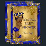 "Prince Boy Baby Shower Gold Blue African American Invitation<br><div class=""desc"">Gold and Royal Blue Boy Baby Shower it&#39;s a boy Party  Invitation. Elegant gold diamond floral design with cute baby boy and crown. Ethnic African American Baby Shower</div>"