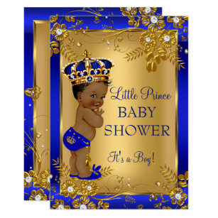 Prince baby shower invitations zazzle prince boy baby shower gold blue african american invitation filmwisefo
