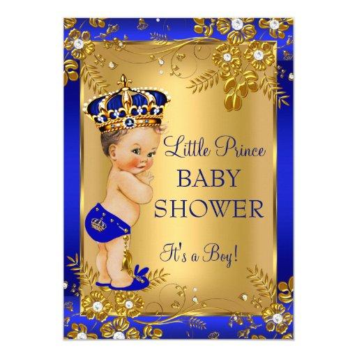 Baby Boy Gift Gold : Prince boy baby shower gold blue floral brunette card zazzle