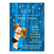 Prince Boy Baby Shower Invitation Blue Gold Stars