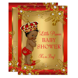 Prince Boy Baby Shower Red Gold African American Card